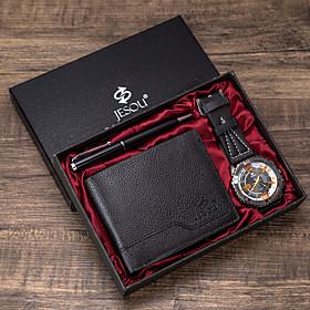 Men's Dress Watch Quartz Gift Set Classic Chronograph Analog SilverGray Black Black / Orange / Two Years / Leather / Luminous / Two Years