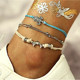 Ankle Bracelet Casual / Sporty Women's Body Jewelry For Street Layered Alloy Turtle Silver 3pcs