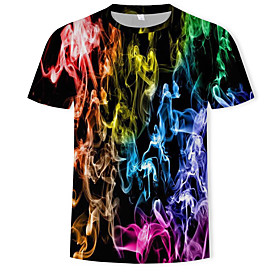 Men's 3D Graphic Print T-shirt - Cotton Round Neck Rainbow
