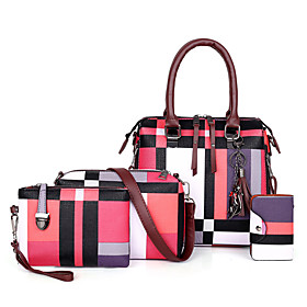 Women's Bags PU Leather Bag Set 4 Pieces Purse Set Zipper Mixed Color Lattice for Shopping / Daily Blue / Red / Sky Blue / Gray / Bag Sets