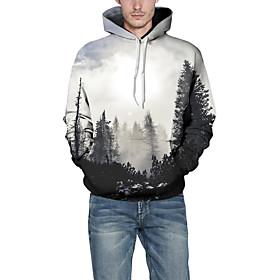 Men's Hoodie Geometric Hooded Basic Hoodies Sweatshirts  White