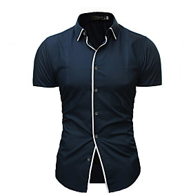 Men's Casual / Daily Shirt Solid Colored Short Sleeve Tops Streetwear White Black Navy Blue