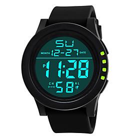 Men's Sport Watch Quartz Sparkle LED Light Digital White Black Blue / One Year / Stainless Steel / Silicone