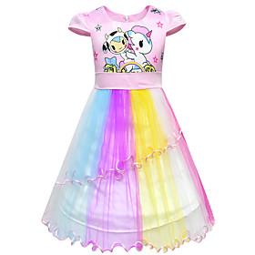 Kids Girls' Active Cute Unicorn Color Block Cartoon Layered Mesh Sleeveless Knee-length Dress Purple