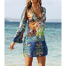 Women's Short Mini Dress Sheath Dress - Long Sleeve Graphic Print Summer Deep V Boho Holiday Beach Boho / Beach Blue S M L XL XXL