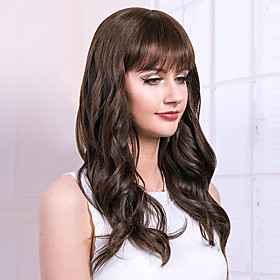 Human Hair Blend Wig Long Curly Natural Wave Neat Bang With Bangs Simple Sexy Lady African American Wig Capless Women's All Chestnut Brown / For Black Women