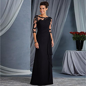 Sheath / Column Elegant Wedding Guest Formal Evening Dress Jewel Neck Half Sleeve Floor Length Lace with Appliques 2020