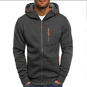 Men's Hoodie Jacket 3D Solid Colored Hooded Casual Hoodies Sweatshirts  Black Dark Gray