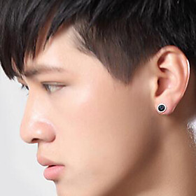 Men's Stud Earrings Vintage Style Galaxy Vintage Rock Silver Plated Earrings Jewelry Black For Daily Street 1 Pair
