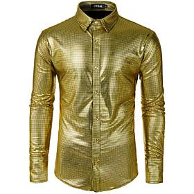 Men's Casual / Daily Shirt Geometric Sequins Long Sleeve Tops Boho Gold Silver