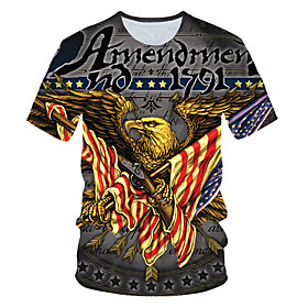 Men's 3D Graphic Print T-shirt Street chic Exaggerated Daily Wear Club Round Neck Gray / Short Sleeve / Animal