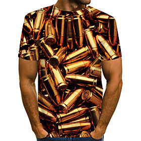 Men's 3D Graphic Print T-shirt Street chic Exaggerated Daily Wear Club Round Neck Gold / Short Sleeve
