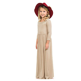 Kids Girls' Solid Colored Dress Wine