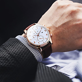 Men's Dress Watch Quartz Modern Style Stylish Casual Water Resistant / Waterproof Analog White / Brown Black Black / Brown / One Year / Leather