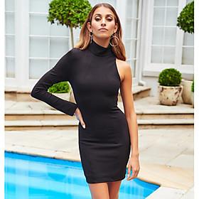 Women's A Line Dress - Solid Colored Black Blushing Pink Royal Blue M L XL