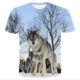 Men's Casual / Daily T-shirt 3D Animal Print Short Sleeve Tops Basic Streetwear Round Neck Light Blue