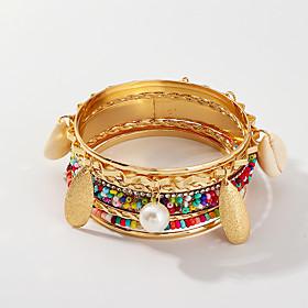 7pcs Women's Bracelet Bangles Earrings / Bracelet Layered Leaf Rainbow Shell Luxury Classic Vintage Ethnic Fashion Shell Bracelet Jewelry Gold For Daily School