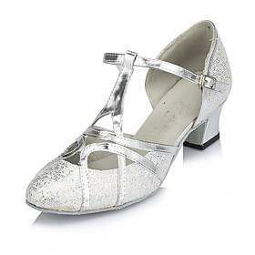 Women's Modern Shoes Heel Thick Heel Synthetics Splicing Silver / Performance