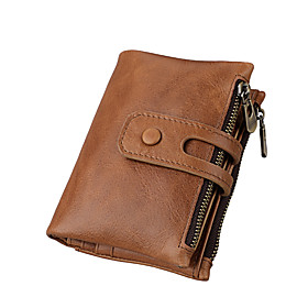Men's Bags Cowhide Wallet Solid Color for Holiday / Office  Career Black / Blue / Brown / Coffee