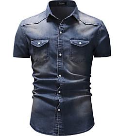 Men's Casual / Daily Shirt Solid Colored Denim Short Sleeve Tops Streetwear Blue Light gray Dark Gray
