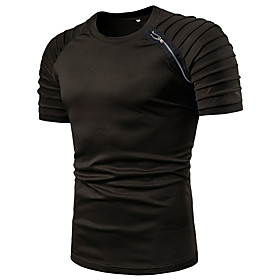 Men's Casual T-shirt Graphic Solid Colored Patchwork Short Sleeve Tops Cotton Basic Round Neck White Black Army Green