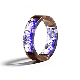 Men's Women's Ring Resin 1pc Purple Resin Wood Round Natural Boho Gift Jewelry Floral Theme Flower Botanical Cute Lovely