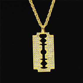 Men's Women's Clear Cubic Zirconia Pendant Necklace Necklace Pave European Trendy Hip Hop Zircon Chrome Gold 70 cm Necklace Jewelry 1pc For Street Sport Gift M