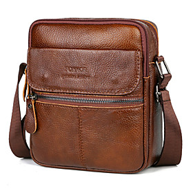 Men's Bags Cowhide Crossbody Bag Zipper Solid Color for Daily Black / Coffee / Fall  Winter