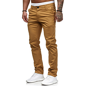 Men's Basic Jogger Chinos Pants - Solid Colored Classic Cotton White Black Red M / L / XL