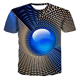 Men's Plus Size Geometric 3D T-shirt Daily Wear Round Neck Blue / Short Sleeve