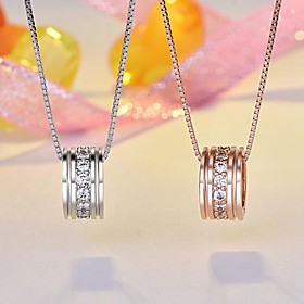 Women's Pendant Classic Copper Rhinestone Champagne Silver Necklace Jewelry 1pc For Daily