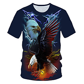 Men's 3D Graphic Print T-shirt Street chic Exaggerated Daily Wear Club Round Neck Navy Blue / Short Sleeve / Animal