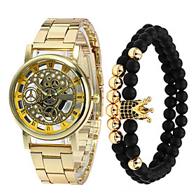 Men's Steel Band Watches Quartz Casual Water Resistant / Waterproof Analog Gold Silver / One Year / Stainless Steel