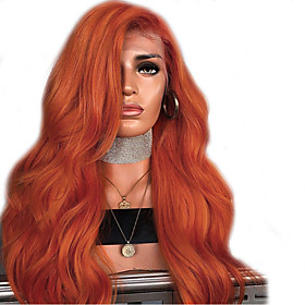 Synthetic Lace Front Wig Wavy Side Part Lace Front Wig Long Orange Synthetic Hair 18-24 inch Women's Adjustable Heat Resistant Party Dark Brown