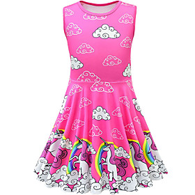 Kids Toddler Girls' Active Street chic Unicorn Cartoon Sleeveless Above Knee Dress Fuchsia