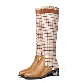 Women's Boots Knee High Boots Fashion Boots Combat Boots Cuban Heel Round Toe British Preppy Daily Party  Evening Plaid / Check PU Knee High Boots Winter Black