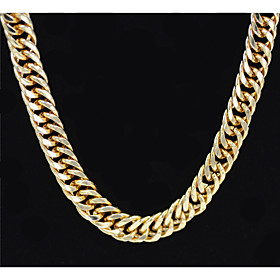 Men's Women's Gold Chain Necklace Statement Necklace Chains Layered Totem Series XOXO Statement Punk Trendy Rock 18K Gold Plated Chrome 24K Gold Plated Gold 70
