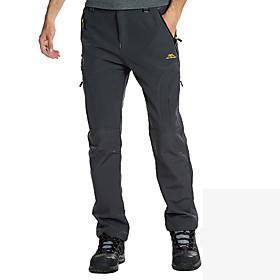 Men's Hiking Pants Softshell Pants Winter Outdoor Waterproof Windproof Fleece Lining Breathable Pants / Trousers Bottoms Camping / Hiking Hunting Fishing Dark