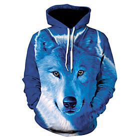 Men's Hoodie Jacket 3D Animal Hooded Basic Hoodies Sweatshirts  Royal Blue