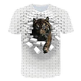 Men's 3D Graphic Print T-shirt Street chic Exaggerated Club Beach Round Neck White / Short Sleeve / Animal