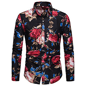 Men's Casual / Daily Shirt Floral Graphic Print Long Sleeve Tops Elegant Black Blue Red