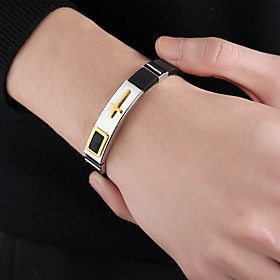 Men's Leather Bracelet Classic Cross Statement Stylish Punk Trendy Rock Titanium Steel Bracelet Jewelry Gold / Black / Silver For Party Gift Daily Carnival Clu