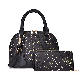 Women's Sequin / Glitter PU(Polyurethane) / PU Bag Set Solid Color 2 Pieces Purse Set Black / White / Blushing Pink