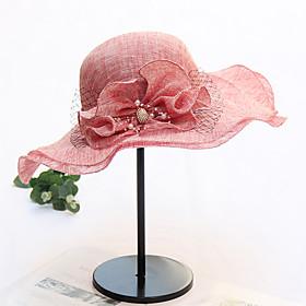 Women's Sun Hat Mesh Active Basic Cute - Color Block Floral Print Spring Summer Wine Black Blushing Pink