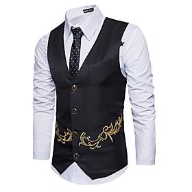 Men's V Neck Vest Geometric Black / Khaki / Navy Blue US34 / UK34 / EU42 / US36 / UK36 / EU44 / US38 / UK38 / EU46
