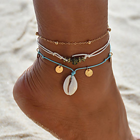Ankle Bracelet Women's Body Jewelry For Party Daily Cord Shell Alloy Gold 3pcs