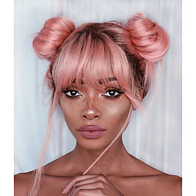 Remy Human Hair Lace Front Wig Free Part style Brazilian Hair Straight Pink Wig 130% Density with Baby Hair Soft Women Ombre Hair Natural Hairline Women's Shor