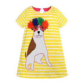 Kids Girls' Active Basic Unicorn Striped Cartoon Short Sleeve Knee-length Dress Blue