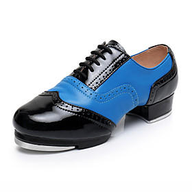Men's Dance Shoes Leather / Cowhide Tap Shoes Heel Thick Heel Customizable Blue / Performance / Practice