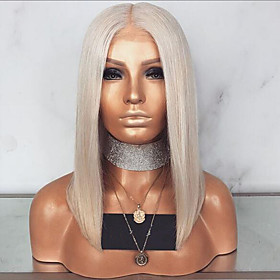 Synthetic Lace Front Wig Straight Middle Part Lace Front Wig Blonde Short Light golden Synthetic Hair 12-14 inch Women's Adjustable Heat Resistant Party Blonde